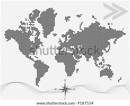 Vector dotted world map (Black) Easy change colors. - stock vector