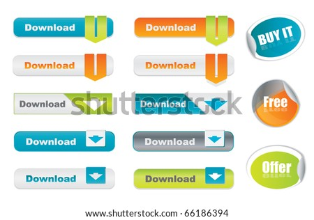 Vector download buttons and stickers, website elements - stock vector