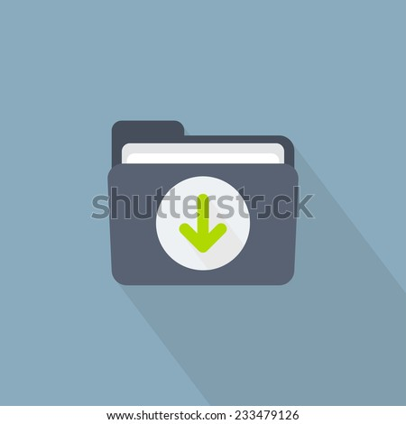Vector download folder icon in flat style - stock vector