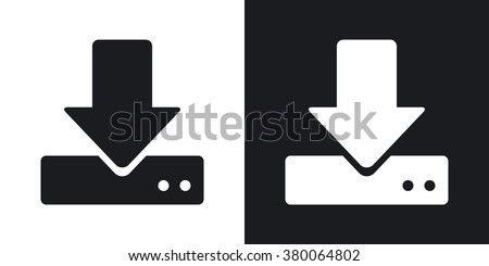 Vector download to hdd icon. Two-tone version on black and white background