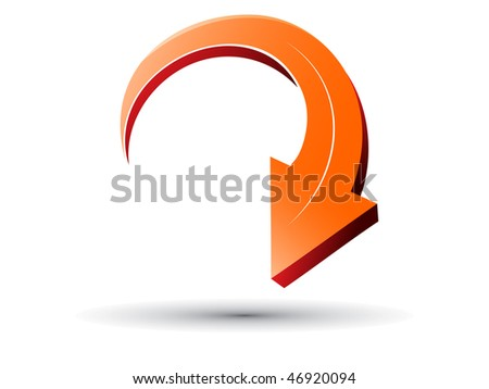 Vector downwards Arrows - 3D Glossy Icon - stock vector