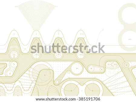 Vector draft background with a gear line. Can be easily colored and used in your design. - stock vector