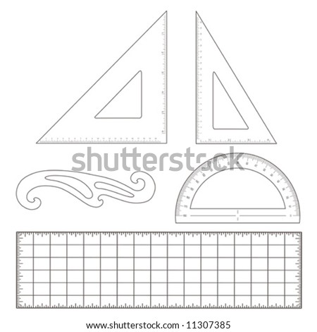 vector - Drafting tools for engineering & architecture: 45 degree triangle, 60 degree triangle, ruler, French Curve, protractor, ruler. EPS8 organized in groups for easy editing. - stock vector