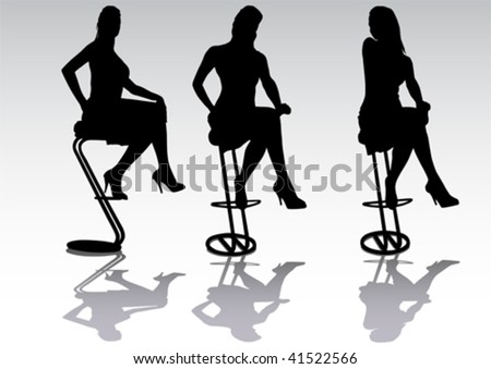 Vector drawing a girl in a high chair. Silhouette on white background - stock vector