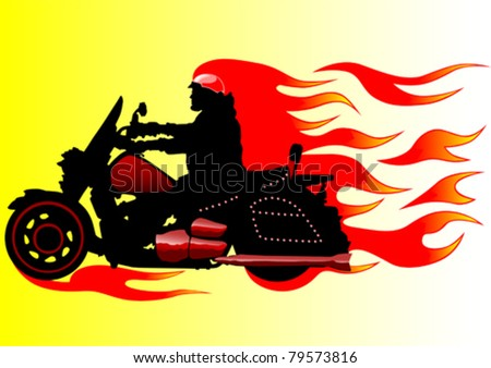 Vector drawing a motorcycle on fire - stock vector