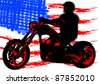 Vector drawing a motorcycle on road - stock photo