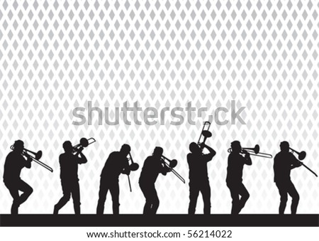Vector drawing artist with a trombone on stage during a performance - stock vector