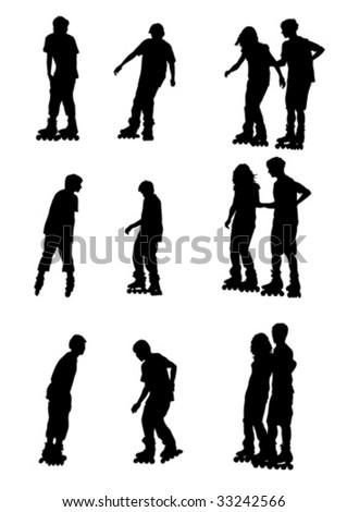 Vector drawing athletes on skates. Silhouette on white background