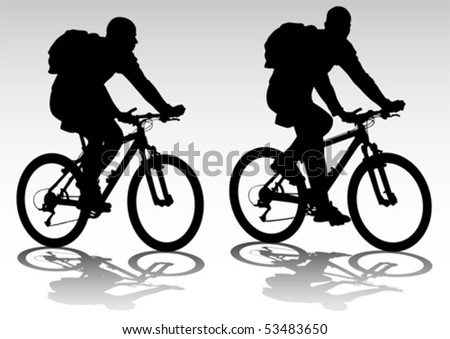 Vector drawing bicycle races leisure. Silhouette of sports people - stock vector