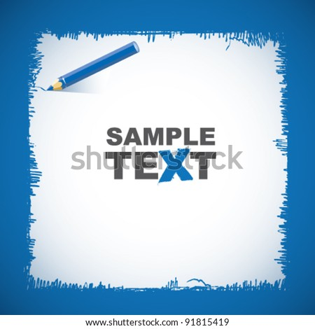 Vector drawing blue pencil - stock vector