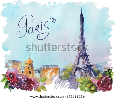 vector drawing by hand on wright paper beautiful background with Paris. Watercolor illustration with Eiffel Tower, view of the city with high and many beautiful flowers. inscription by hand. - stock vector