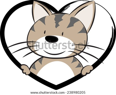 Line Drawing Heart Shape : Vector drawing cat heart shape icon stock photo