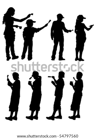 Vector drawing child paint. Silhouette on white background - stock vector