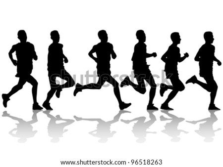 Vector drawing competition on run - stock vector