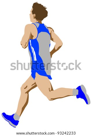 Vector drawing competition run among man - stock vector