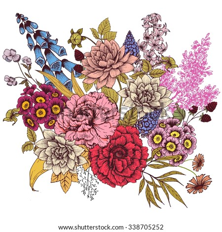 vector drawing, composition flower, peony, rose, lilac, hyacinth, foxglove, chamomile, evening primrose, retro, vintage card - stock vector