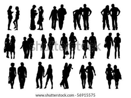 Vector drawing couples on the walk. Silhouettes on white background - stock vector
