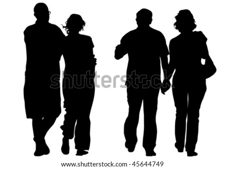 Vector drawing couples. Silhouettes on white background