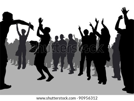 Vector drawing crowds of football fans - stock vector