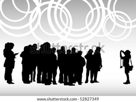 Vector drawing crowds of photo. Silhoutte of people - stock vector