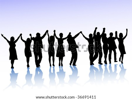 Vector drawing crowds of spectators, holding hands - stock vector