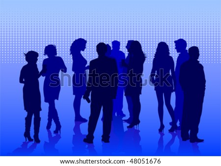 Vector drawing crowds on holiday. Silhouettes of men and women
