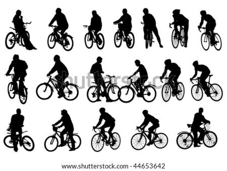 Vector drawing cyclists. Silhouettes on white background - stock vector