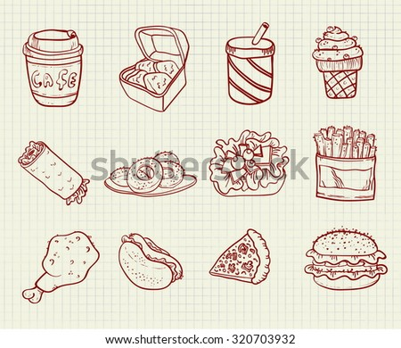 vector drawing elements fast food