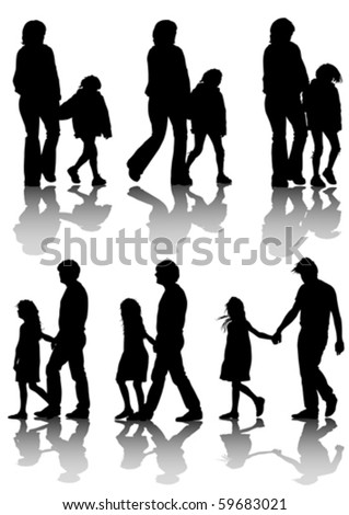 Vector drawing families with a child for a walk. Silhouettes on a white background - stock vector