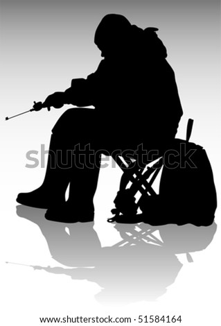 Vector drawing fisherman with a fishing rod during the winter fishing