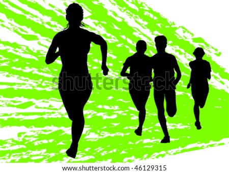 Vector drawing fleeing women. Silhouettes on an abstract background - stock vector