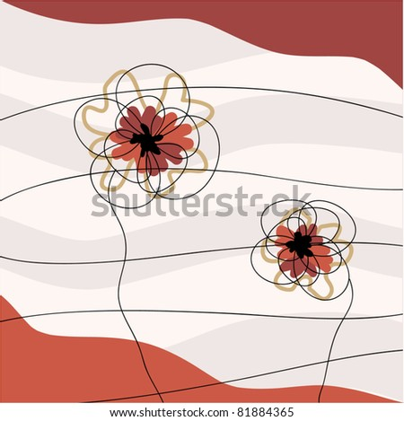 Vector drawing floral background - stock vector