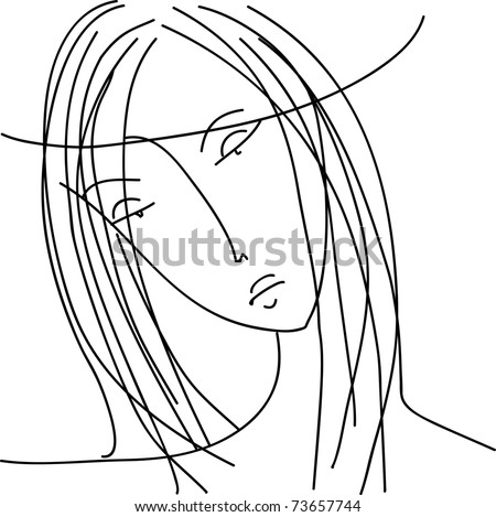 Vector drawing girl - stock vector