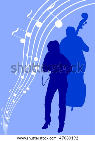 Vector drawing girl singing and with a microphone. Silhouettes on blue background - stock vector