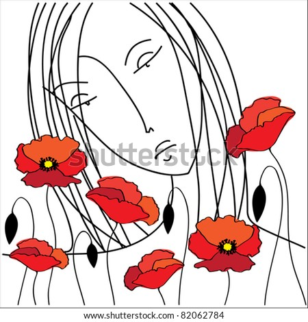 Vector drawing girl with poppies flowers - stock vector