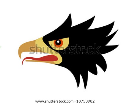 vector drawing head of the ravenous bird - stock vector