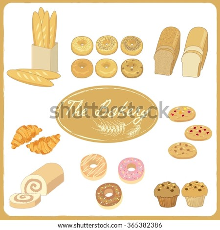 Vector drawing isolated the bakery products menu for bakery cafe.