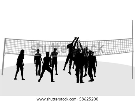 Vector drawing jumping around volleyball nets - stock vector