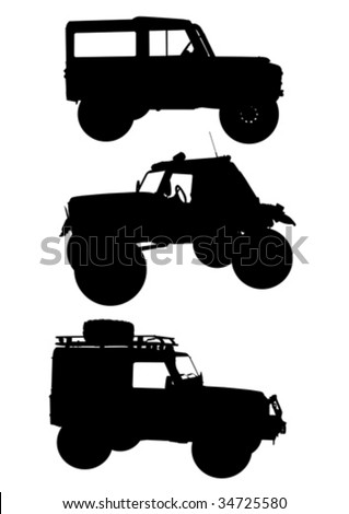 Vector drawing machines to ride on the road. Silhouettes on a white background - stock vector