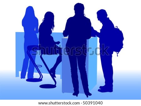 Vector drawing man and women from office. Images workplace employment office - stock vector