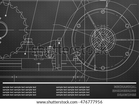 Vector drawing. Mechanical drawings on a black background. Engineering illustration. Corporate Identity. Points