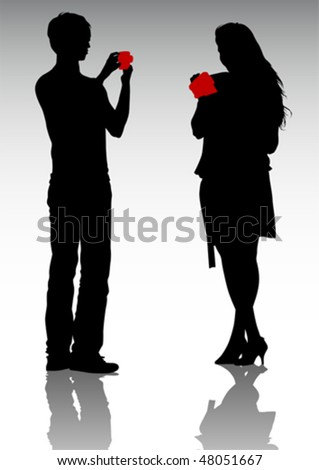 Vector drawing men and women. Silhouettes of people - stock vector