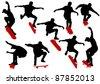 Vector drawing men on skateboards - stock vector