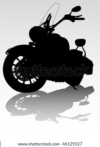 Vector drawing motorcycl on the road. Silhouette on a white background - stock vector