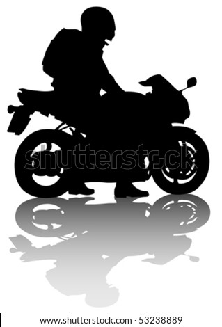 Vector drawing motorcyclist on road. Silhouette on a white background - stock vector