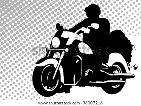 Vector drawing motorcyclist. Silhouette on white background - stock vector