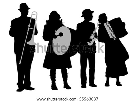 Vector drawing music folk orchestra. Artists on stage - stock vector