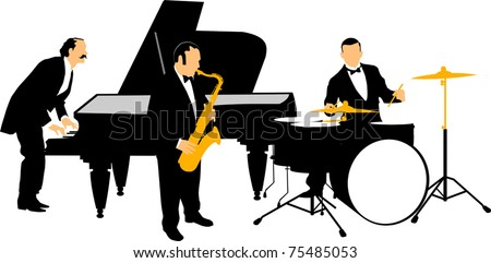 Vector drawing music jazz orchestra. Artists on stage; - stock vector