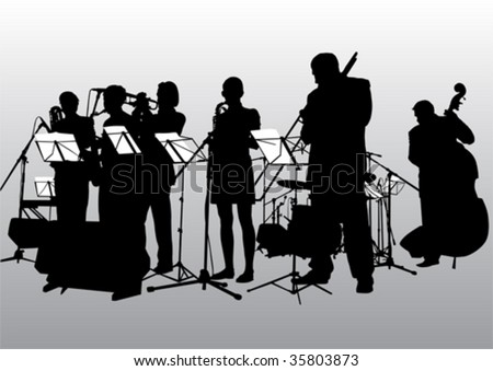 Vector drawing music jazz orchestra. People with musical instruments