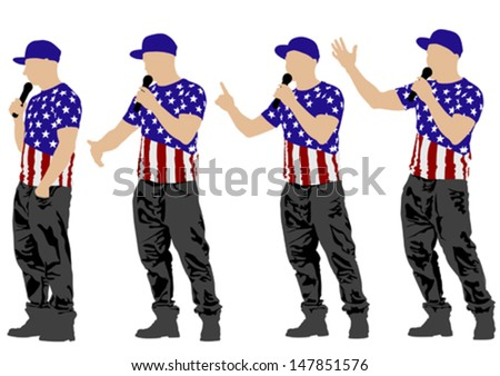 Vector drawing musicians style of rap. Property release is attached to the file - stock vector